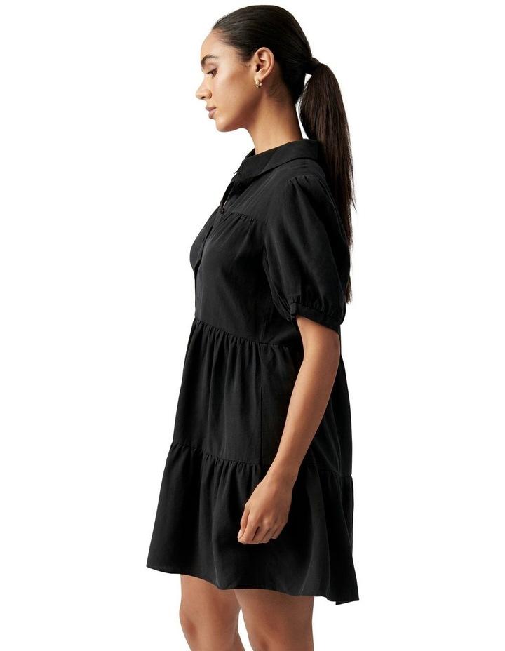 Monica Short Sleeve Tiered Smock Dress Black image 3