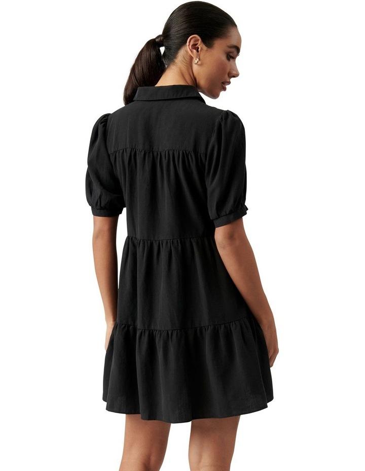 Monica Short Sleeve Tiered Smock Dress Black image 4