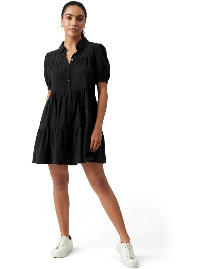 Monica Short Sleeve Tiered Smock Dress Black image 5