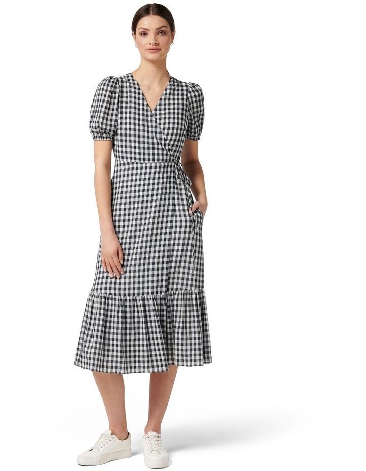 Samara Petite Wrap Midi Dress Navy Gingham image 1