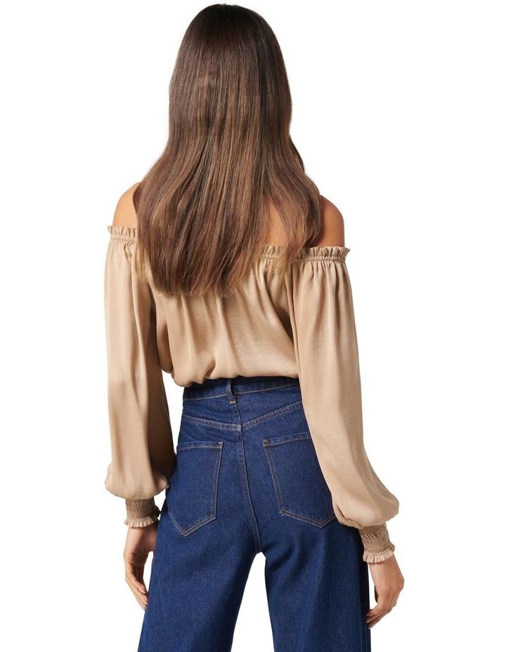 Harriet Satin Off Shoulder Blouse Nougat Brown image 4