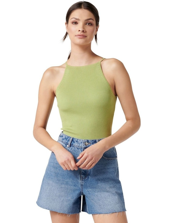 Jade High Square Neck Knit Tank Dusty Chartreuse image 1