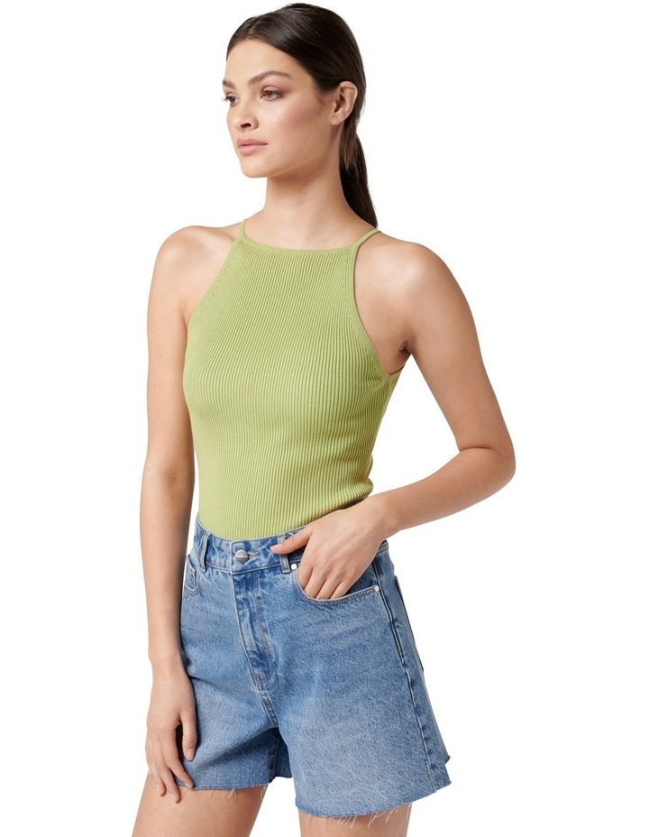 Jade High Square Neck Knit Tank Dusty Chartreuse image 3