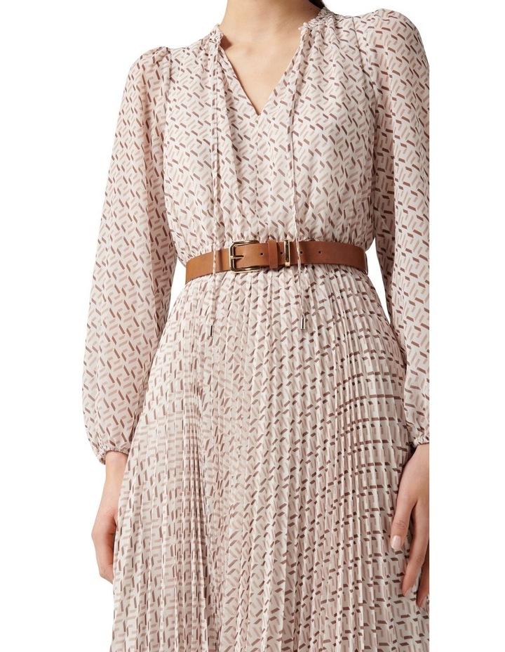 Carmen Pleated Midi Dress Tan Block Geo image 2