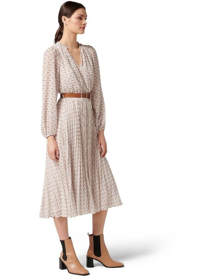 Carmen Pleated Midi Dress Tan Block Geo image 3