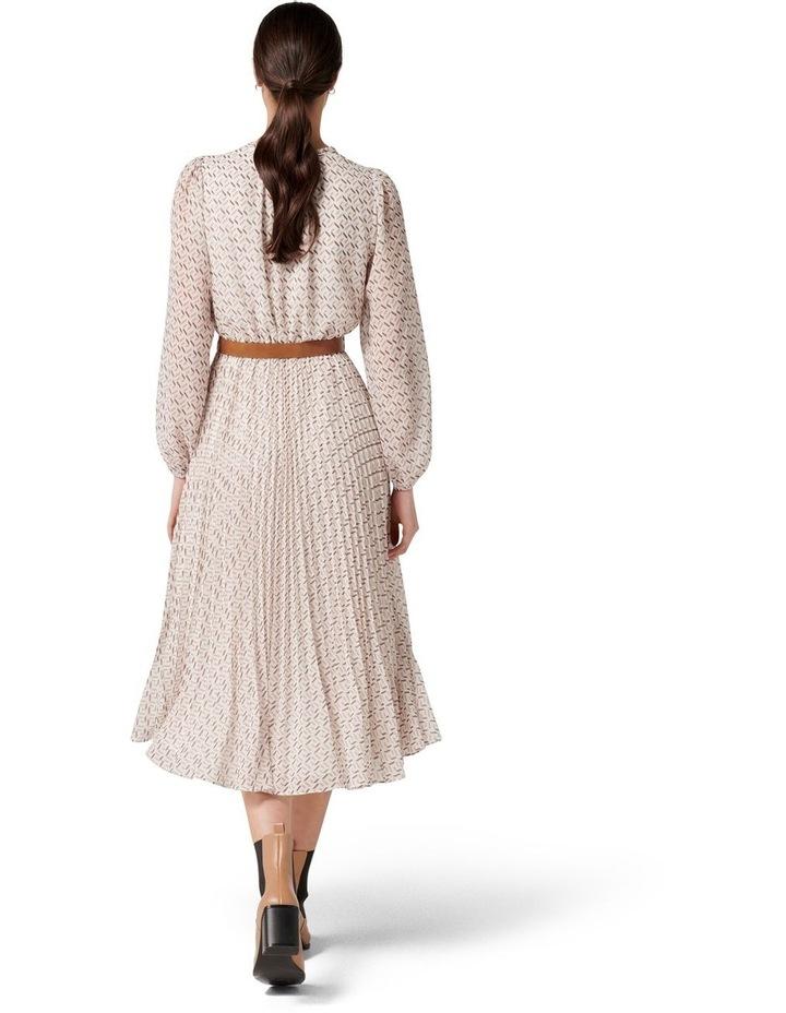 Carmen Pleated Midi Dress Tan Block Geo image 4