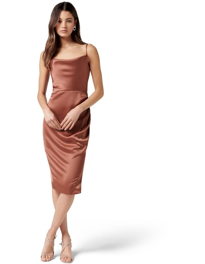 Laura Petite Satin Cowl Ruched Midi Dress Cinnamon image 1