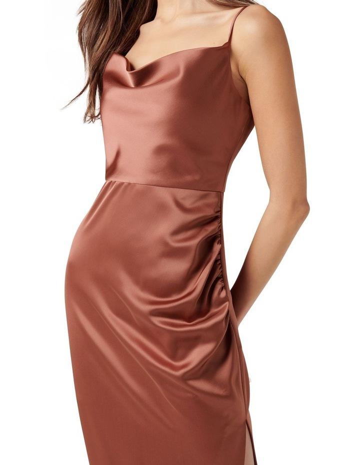 Laura Petite Satin Cowl Ruched Midi Dress Cinnamon image 2