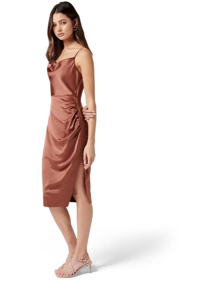 Laura Petite Satin Cowl Ruched Midi Dress Cinnamon image 3