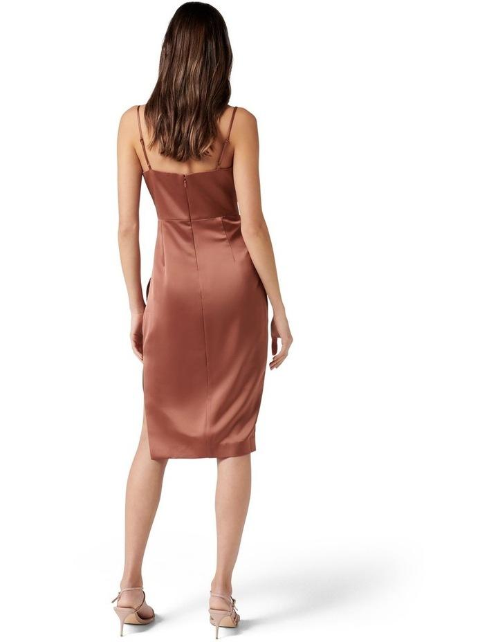 Laura Petite Satin Cowl Ruched Midi Dress Cinnamon image 4