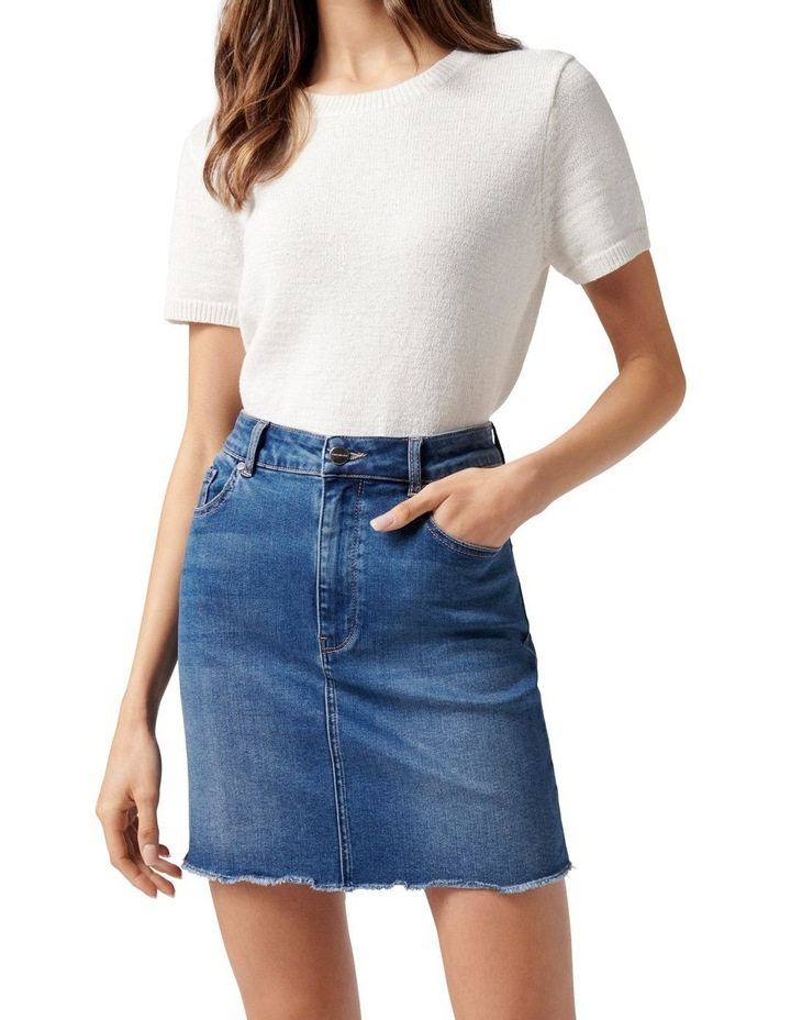 Laura Stretch Denim Mini Skirt Mid Wash image 2