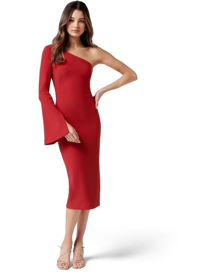 Loridana Flared One Sleeve Bodycon Midi Tango Red image 1