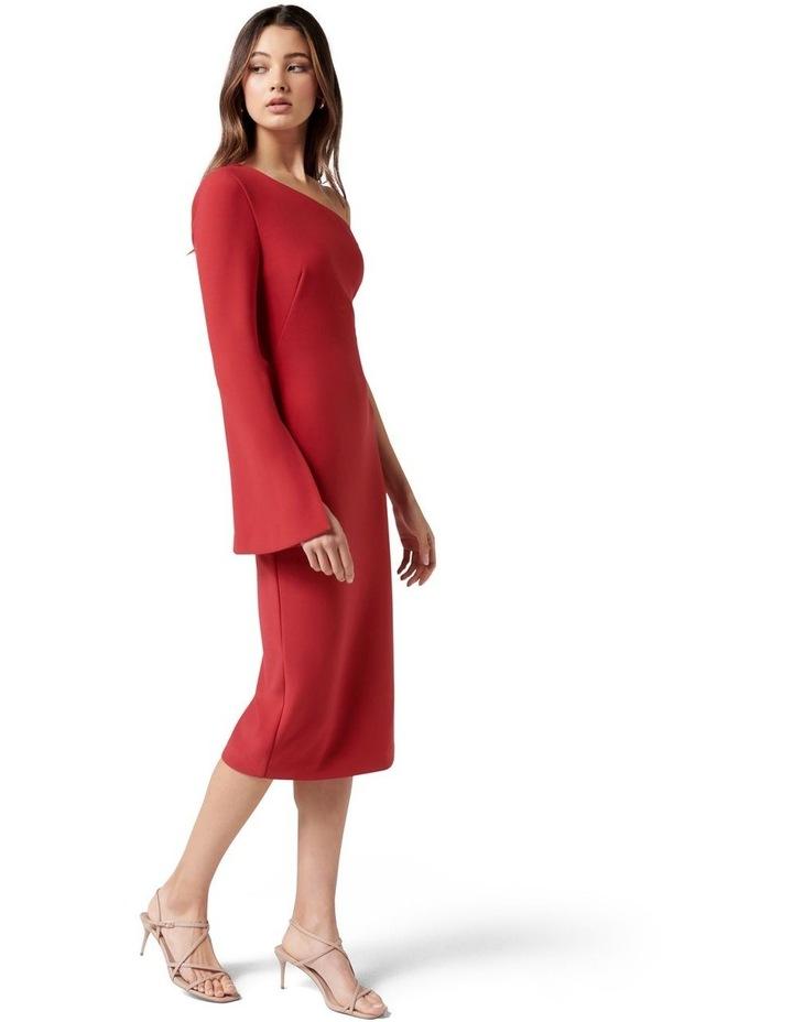Loridana Flared One Sleeve Bodycon Midi Tango Red image 3