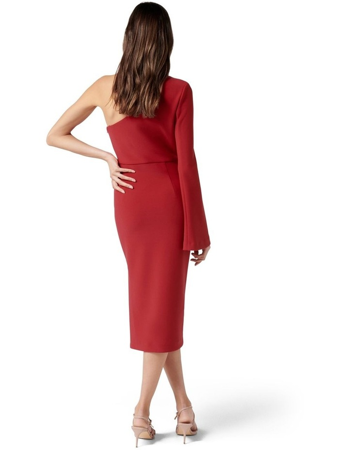 Loridana Flared One Sleeve Bodycon Midi Tango Red image 4