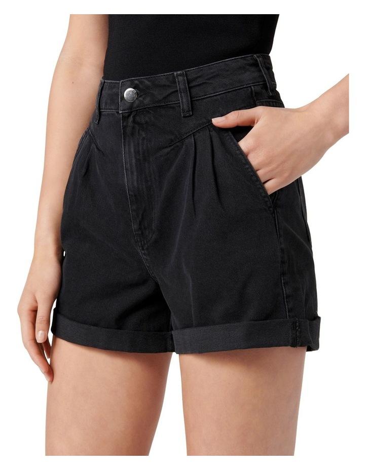 Casey Pleated Denim Short Washed Black image 3