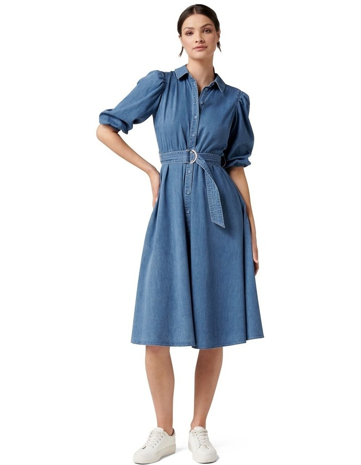 Perla Petite Puff Sleeve Shirt Dress image 1