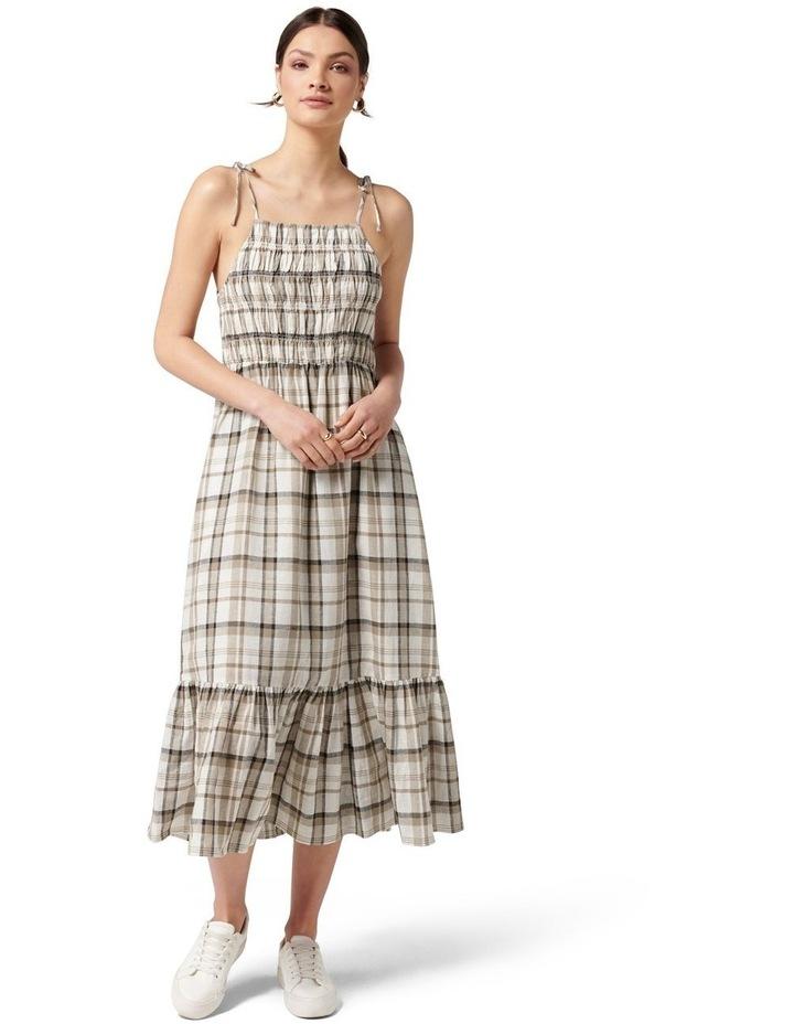 Brady Shirred Halter Midi Dress Neutral Check image 1