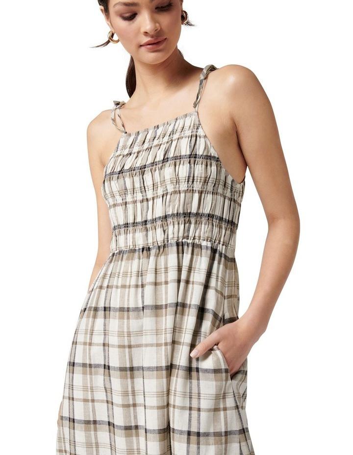 Brady Shirred Halter Midi Dress Neutral Check image 2