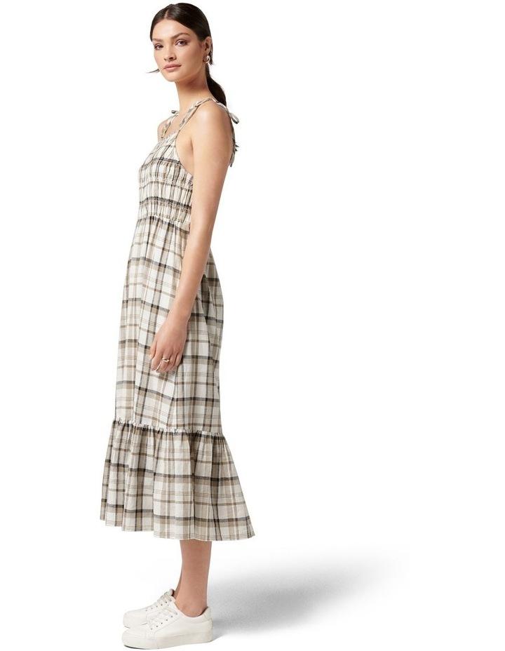 Brady Shirred Halter Midi Dress Neutral Check image 3