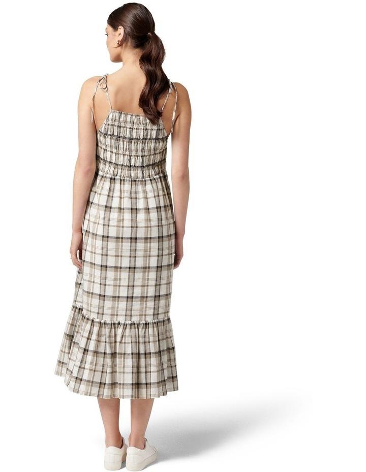 Brady Shirred Halter Midi Dress Neutral Check image 4