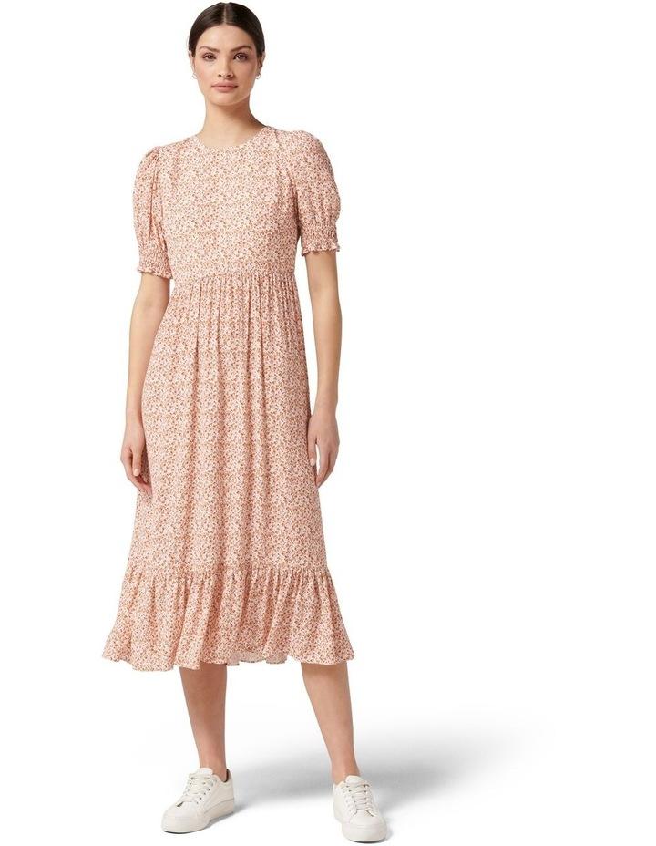 Louise Puff Sleeve Midi Dress Rust Dahlia Ditsy image 1