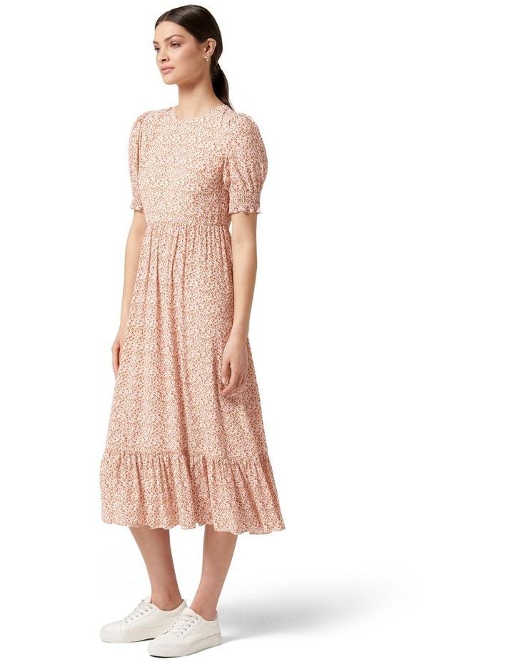 Louise Puff Sleeve Midi Dress Rust Dahlia Ditsy image 3