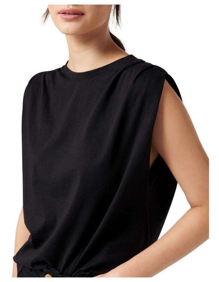 Shayla Pleat Shoulder Tank Black image 2