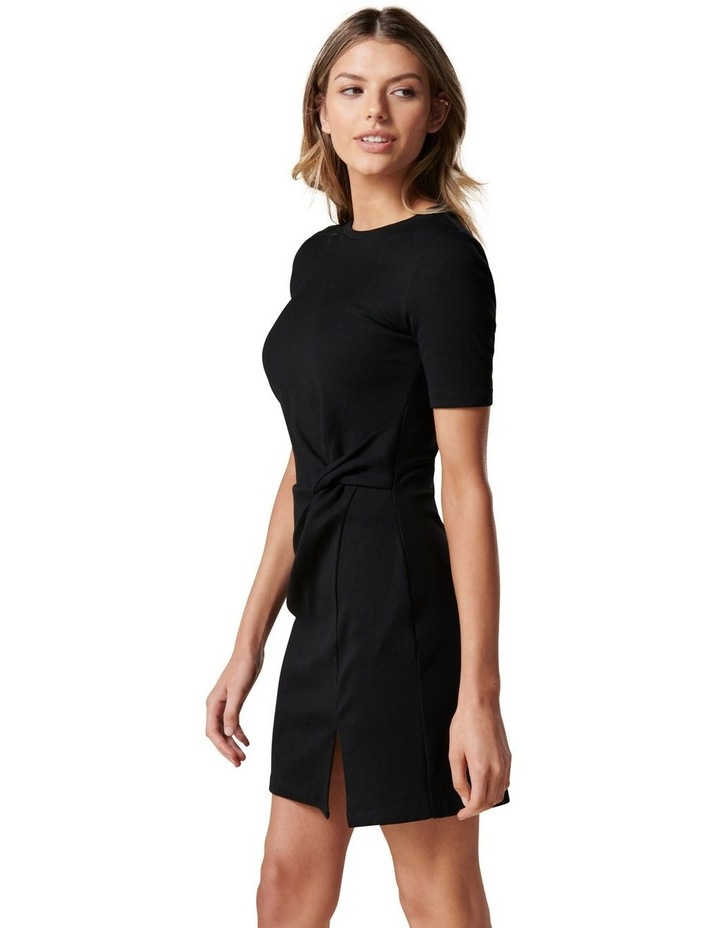 Lana Short Sleeve Split Front Dress Black image 3