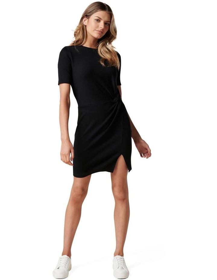 Lana Short Sleeve Split Front Dress Black image 5