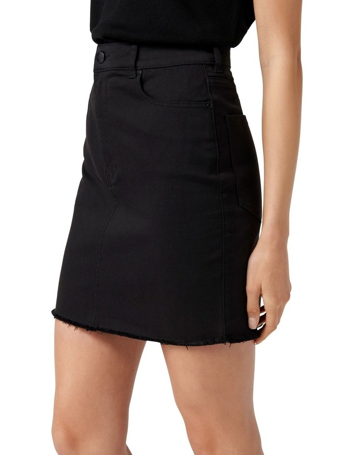 Laura Stretch Denim Mini Skirt Forever Black image 3