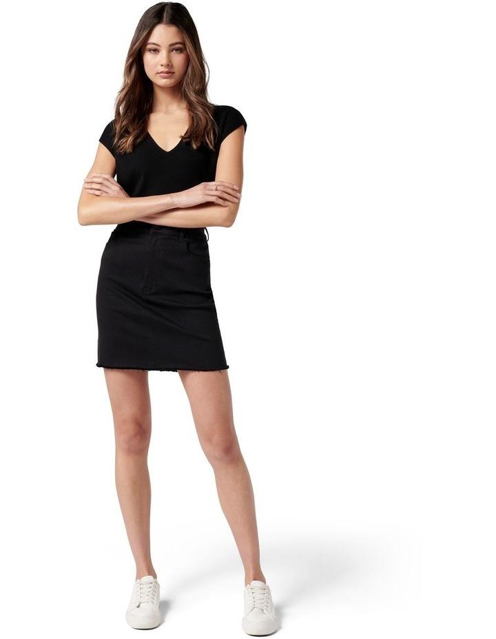 Laura Stretch Denim Mini Skirt Forever Black image 5