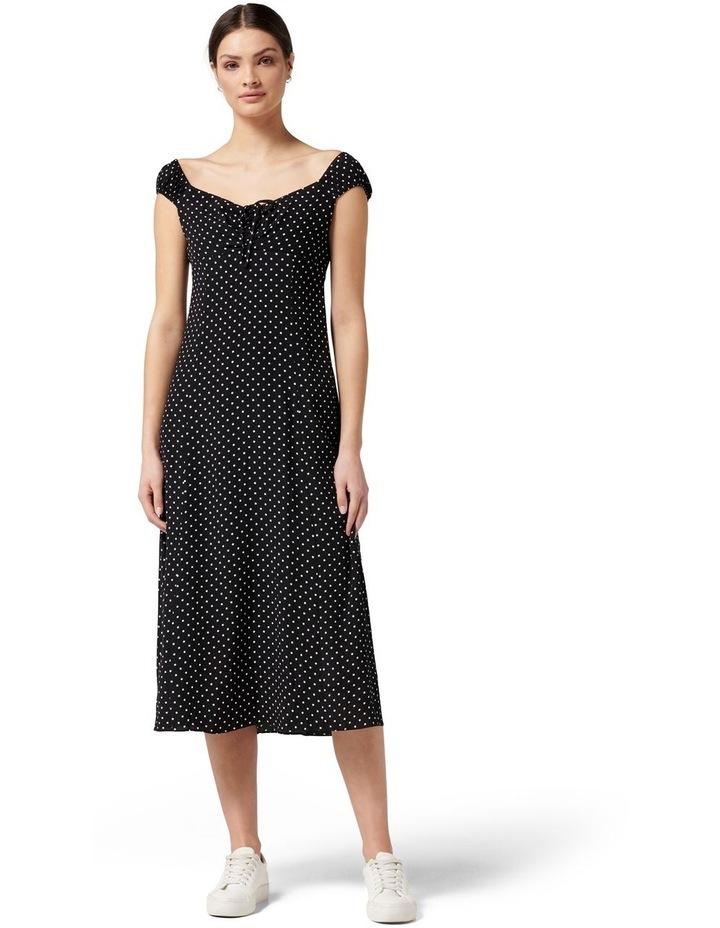 Madi Tie Front Midi Dress Ebony Spot image 1