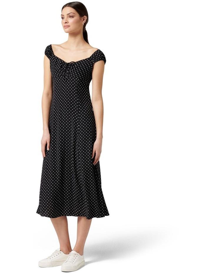 Madi Tie Front Midi Dress Ebony Spot image 3