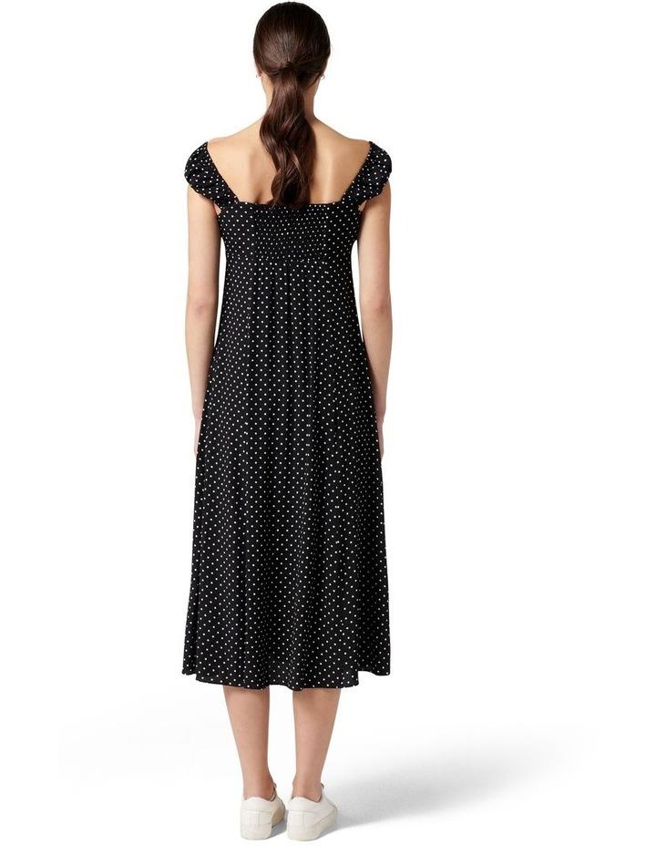 Madi Tie Front Midi Dress Ebony Spot image 4