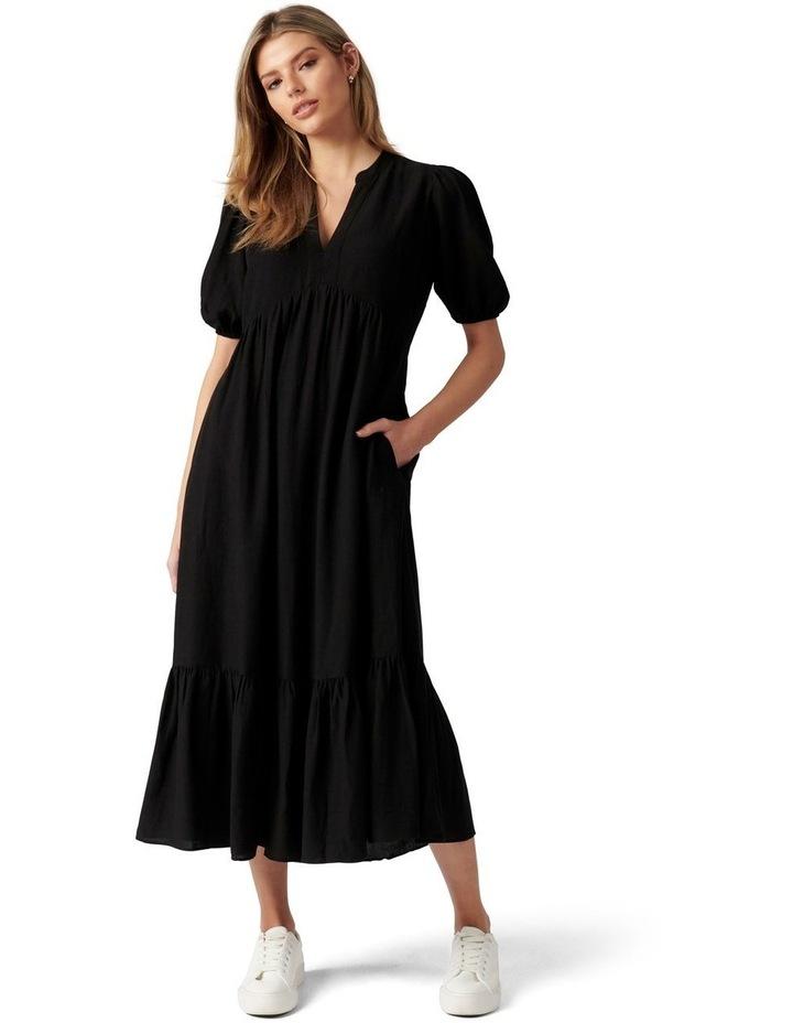 Nelly Tiered Midi Dress Black image 1