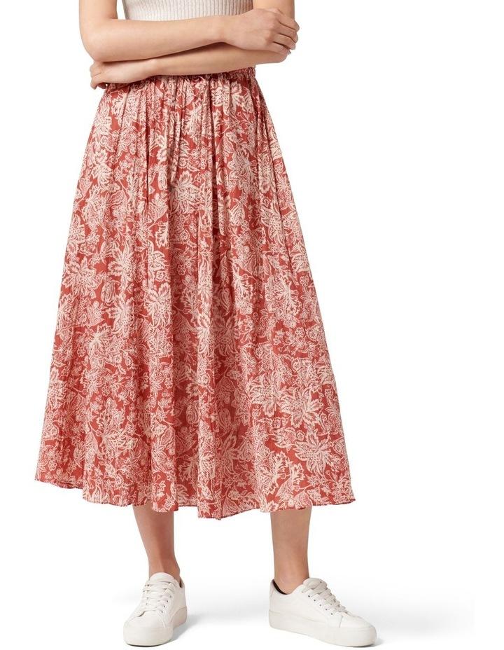 Charlize Crinkle Cotton Skirt Rust Sarasa image 1