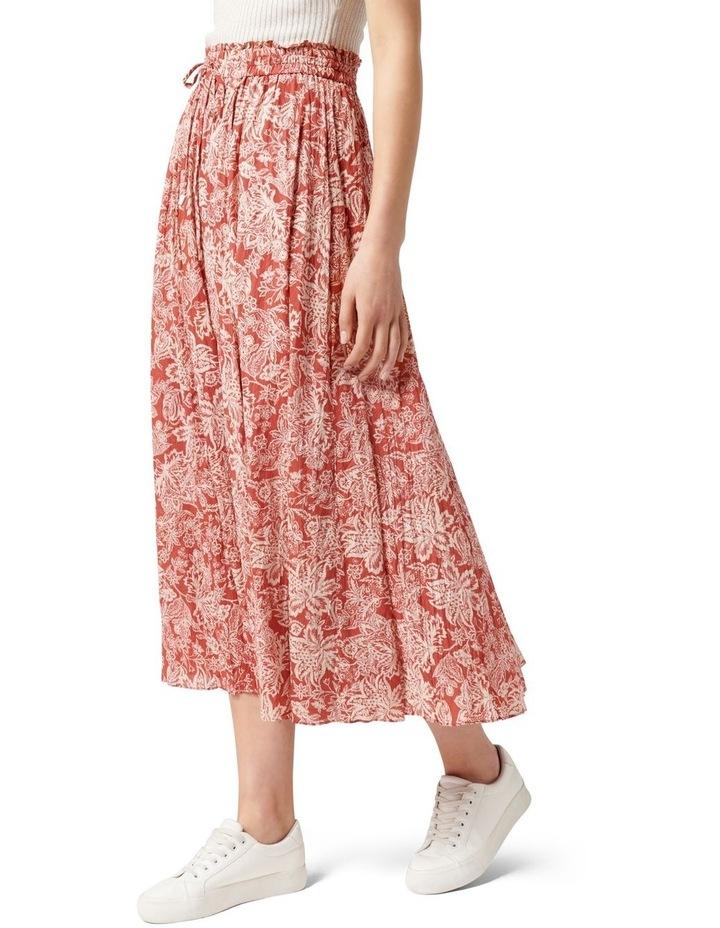 Charlize Crinkle Cotton Skirt Rust Sarasa image 3