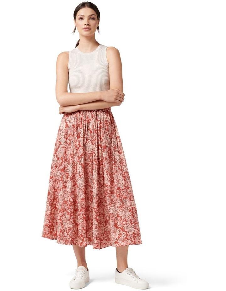 Charlize Crinkle Cotton Skirt Rust Sarasa image 5