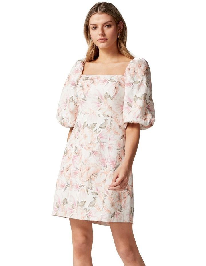 Candice Puff Sleeve Mini Dress Faded Peach Floral image 1
