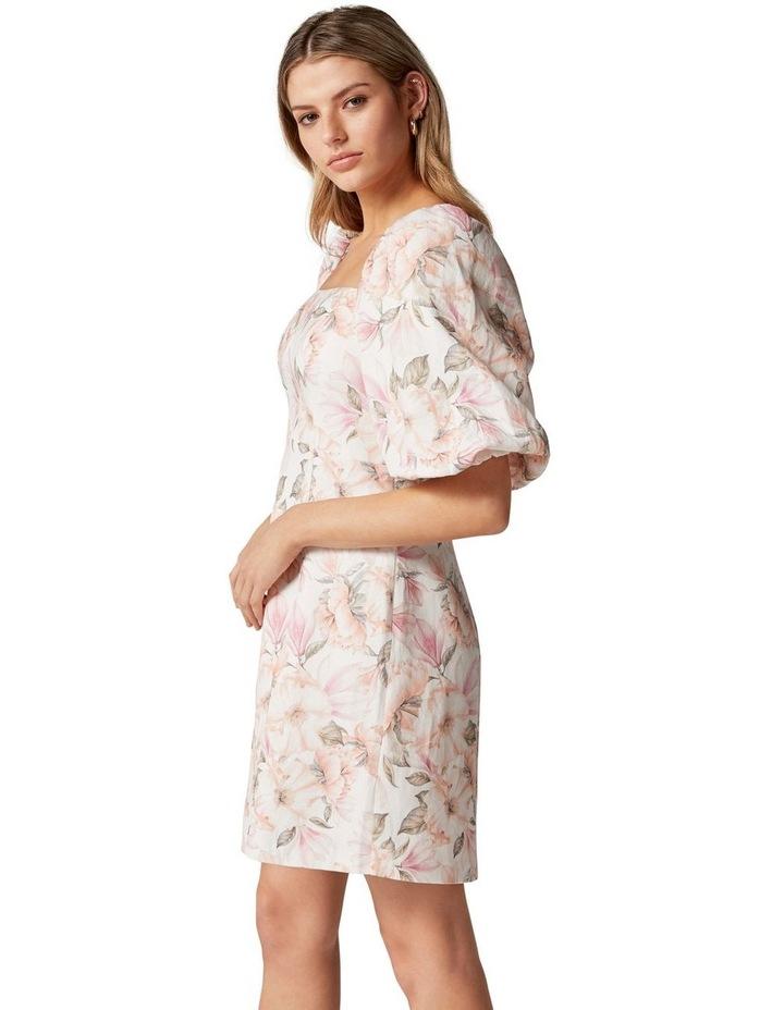 Candice Puff Sleeve Mini Dress Faded Peach Floral image 2