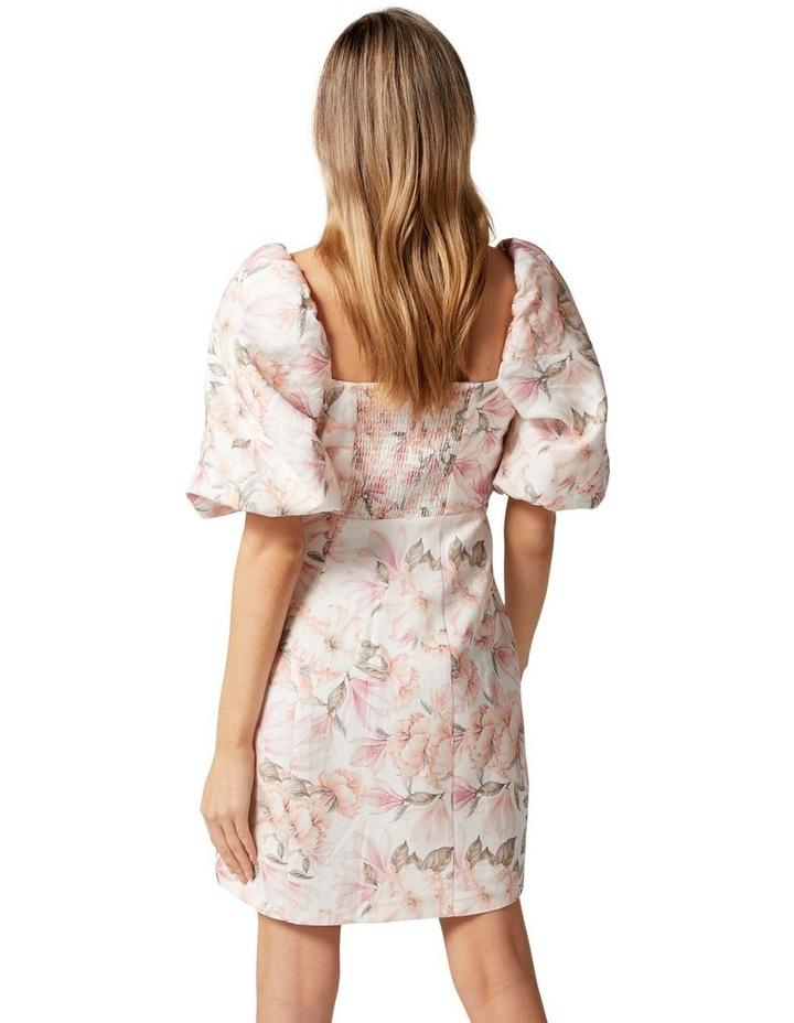 Candice Puff Sleeve Mini Dress Faded Peach Floral image 3