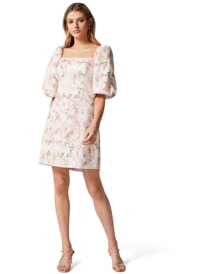 Candice Puff Sleeve Mini Dress Faded Peach Floral image 4