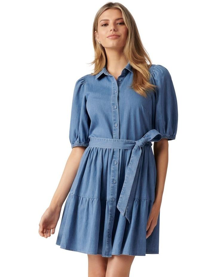 Maria Belted Denim Shirt Dress Mid Wash image 1