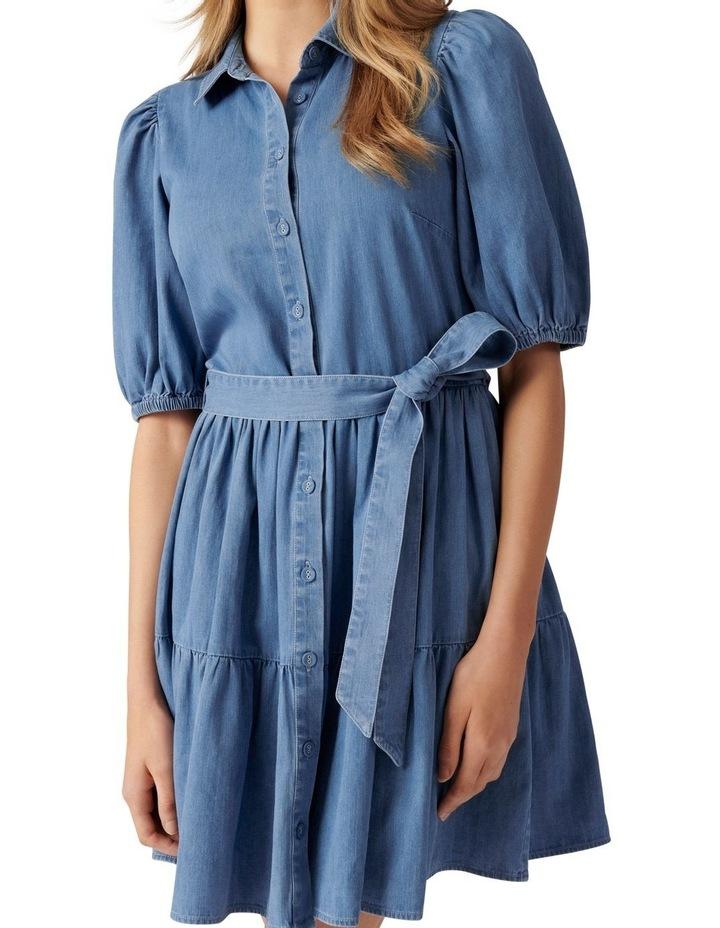 Maria Belted Denim Shirt Dress Mid Wash image 2