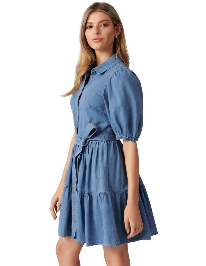 Maria Belted Denim Shirt Dress Mid Wash image 3