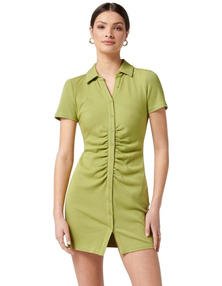 Tara Short Sleeve Ruched Shirt Dress Dusty Chartreuse image 1