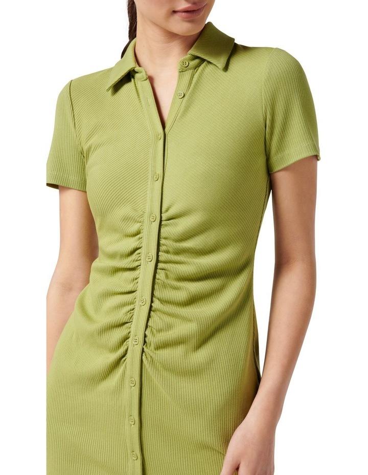 Tara Short Sleeve Ruched Shirt Dress Dusty Chartreuse image 2