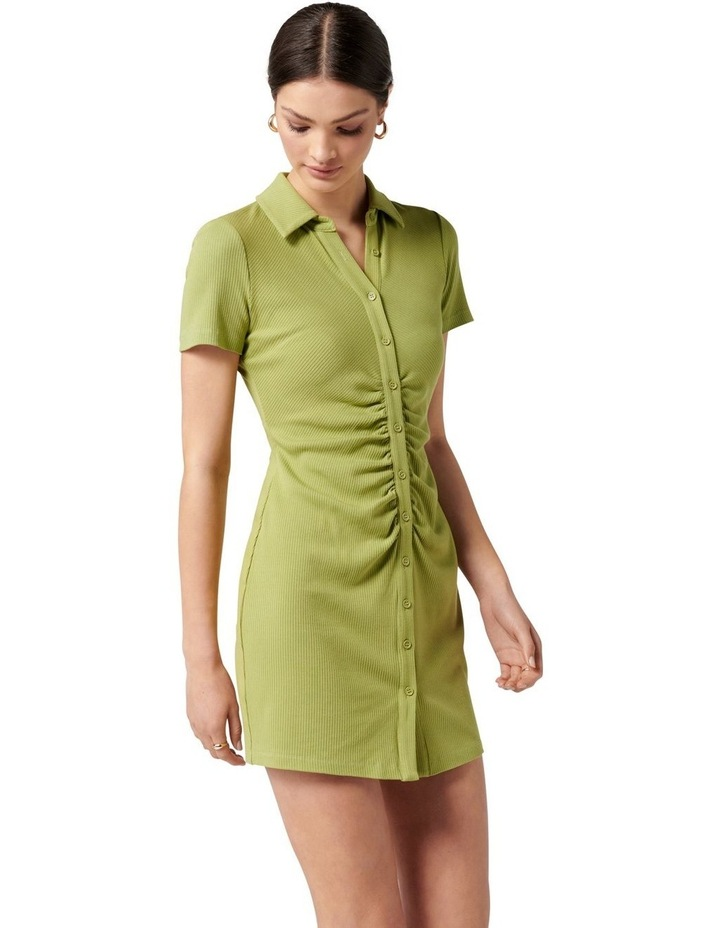 Tara Short Sleeve Ruched Shirt Dress Dusty Chartreuse image 3