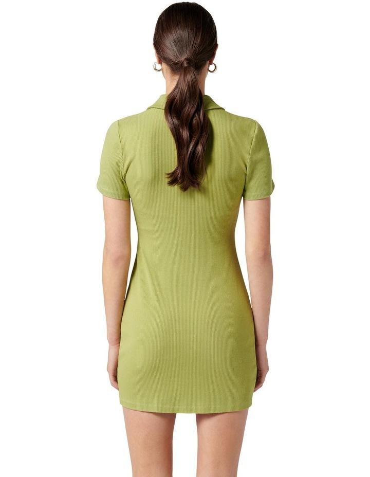 Tara Short Sleeve Ruched Shirt Dress Dusty Chartreuse image 4