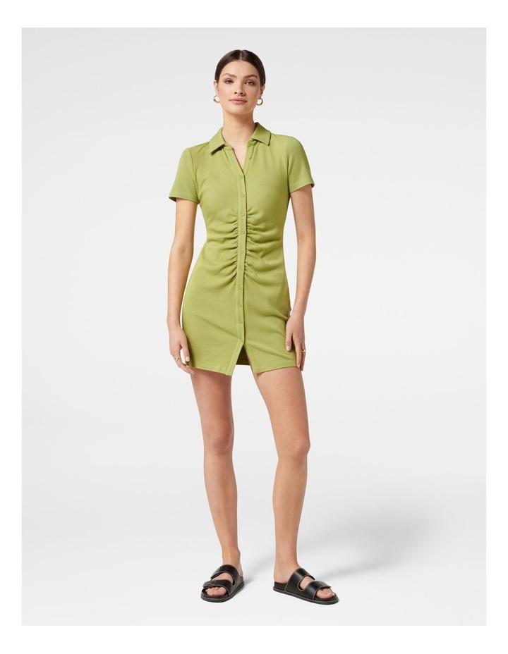 Tara Short Sleeve Ruched Shirt Dress Dusty Chartreuse image 5